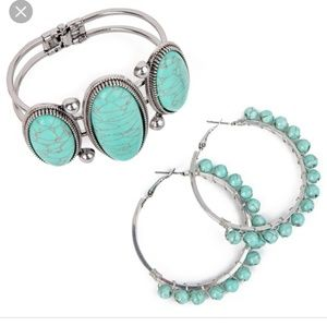 Plunder bracelet and earrings in Turquoise